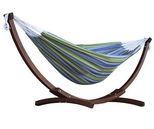 Vivere Cotton Double Hammock with Wooden Stand | Hammock Set Oasis - Cool Hammocks