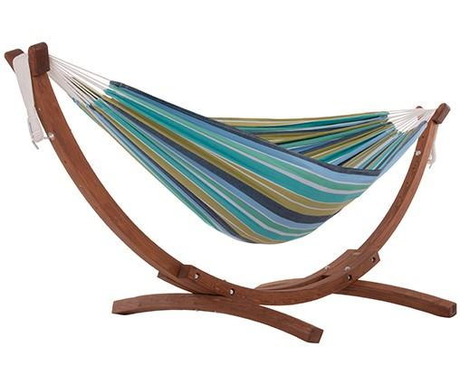 Vivere Cotton Double Hammock with Wooden Stand | Hammock Set Cayo Reef - Cool Hammocks