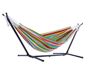 Vivere Polyester Double Hammock with Metal Stand | Hammock Set  - Cool Hammocks