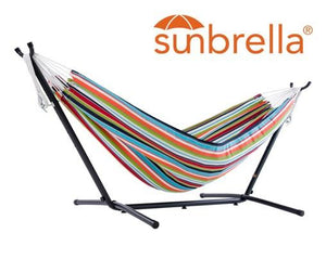 Vivere Sunbrella Double Hammock with Metal Stand | Hammock Set Carousel Confetti - Cool Hammocks