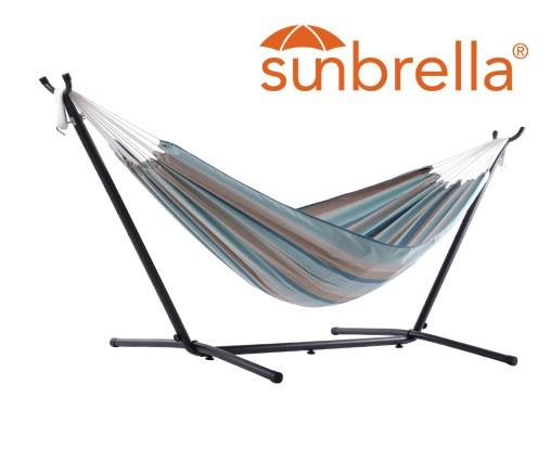 Vivere Sunbrella Double Hammock with Metal Stand | Hammock Set Gateway Mist - Cool Hammocks