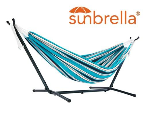 Vivere Sunbrella Double Hammock with Metal Stand | Hammock Set Token Surfside - Cool Hammocks