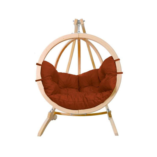 Amazonas Globo Single Seater Hanging Chair with Stand Terracotta - Cool Hammocks
