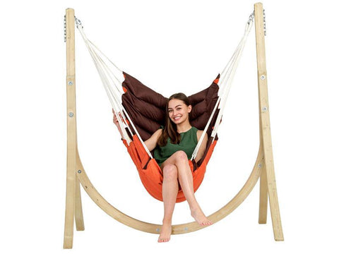 Amazonas California Terracotta Hanging Chair with Taurus Wooden Stand  - Cool Hammocks