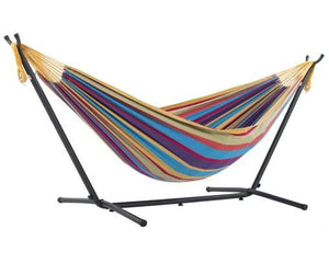 Vivere Cotton Double Hammock with Metal Stand | Hammock Set Tropical - Cool Hammocks