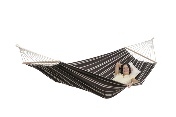 Amazonas Brasilia Spreader Bar Single Hammock with Wooden Stand | Hammock Set Mocca - Cool Hammocks