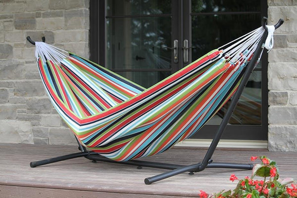 Vivere Sunbrella Double Hammock with Metal Stand | Hammock Set  - Cool Hammocks