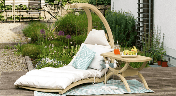Amazonas Swing Lounger with Globo Wooden Stand Creme - Cool Hammocks