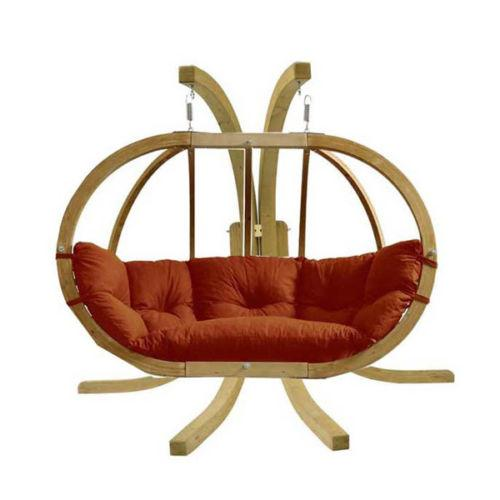 Amazonas Globo Royal Double Seater Hanging Chair with Stand Terracotta - Cool Hammocks