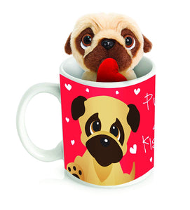 Pugs and Kisses Valentines Pug in a Mug Gift