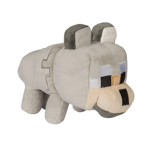 Minecraft 8138 Happy Explorer Untamed Wolf Plush Toy, Grey
