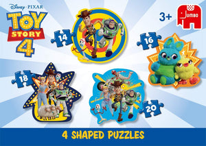 Jumbo 19753 Disney Pixar Toy Story 4-4 in 1 Shaped Puzzles 4-4 in 1, Multi