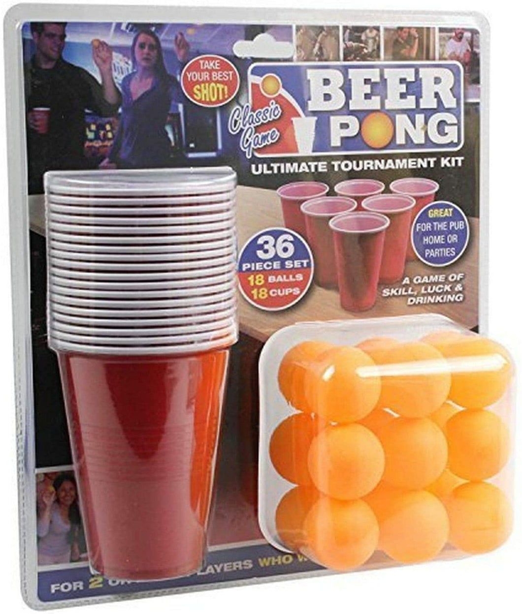 Box damaged -  PMS 619028 36PC Beer Pong Set in Double Blister Card, Red