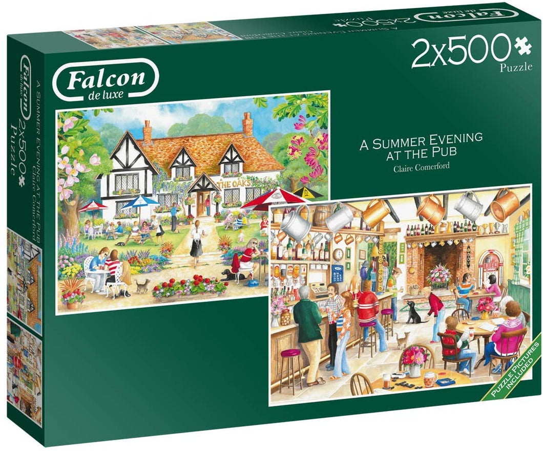 Jumbo 11242 Falcon de Luxe-A Summer Evening at The Pub 2 x 500 Piece Jigsaw Puzzles