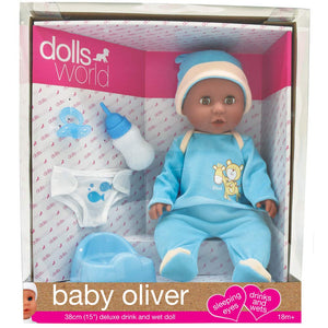 Dolls World - Baby Oliver - Black Doll - 38cm Drinks and Wets - Deluxe Doll Blue - Boy