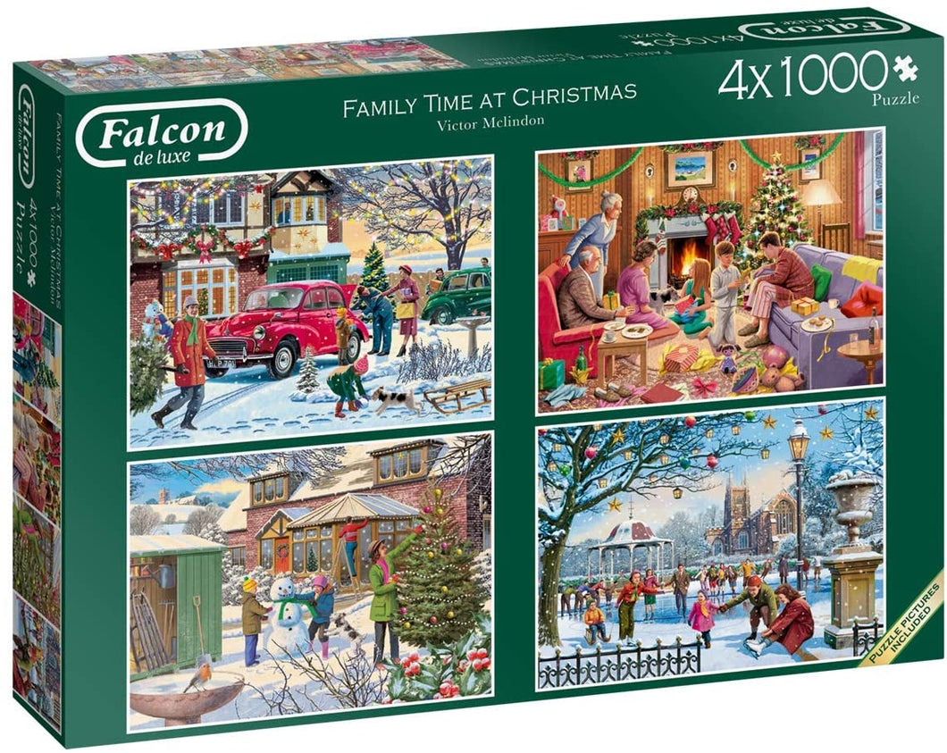 Jumbo 11269 Falcon de Luxe-Family Time at Christmas 4 x 1000 Piece Jigsaw Puzzles