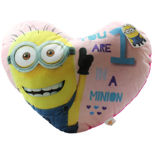 Despicable Me 2 Minion Heart Cushion Pink Children Girls Pillow Cuddly Soft New