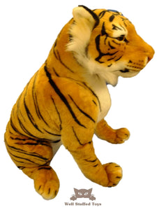 Large Brown Tiger Sitting 60cm DELUXE PAWS ®