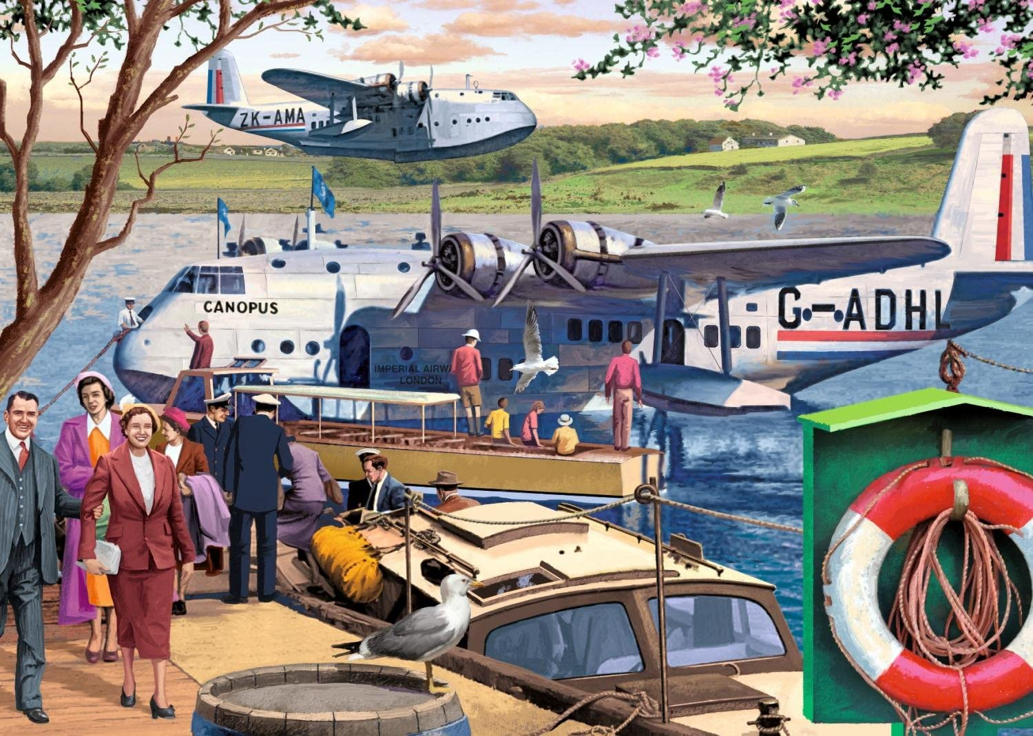 Jumbo 11194 Falcon de Luxe-Empire Flying Boats 1000 Piece Jigsaw Puzzle