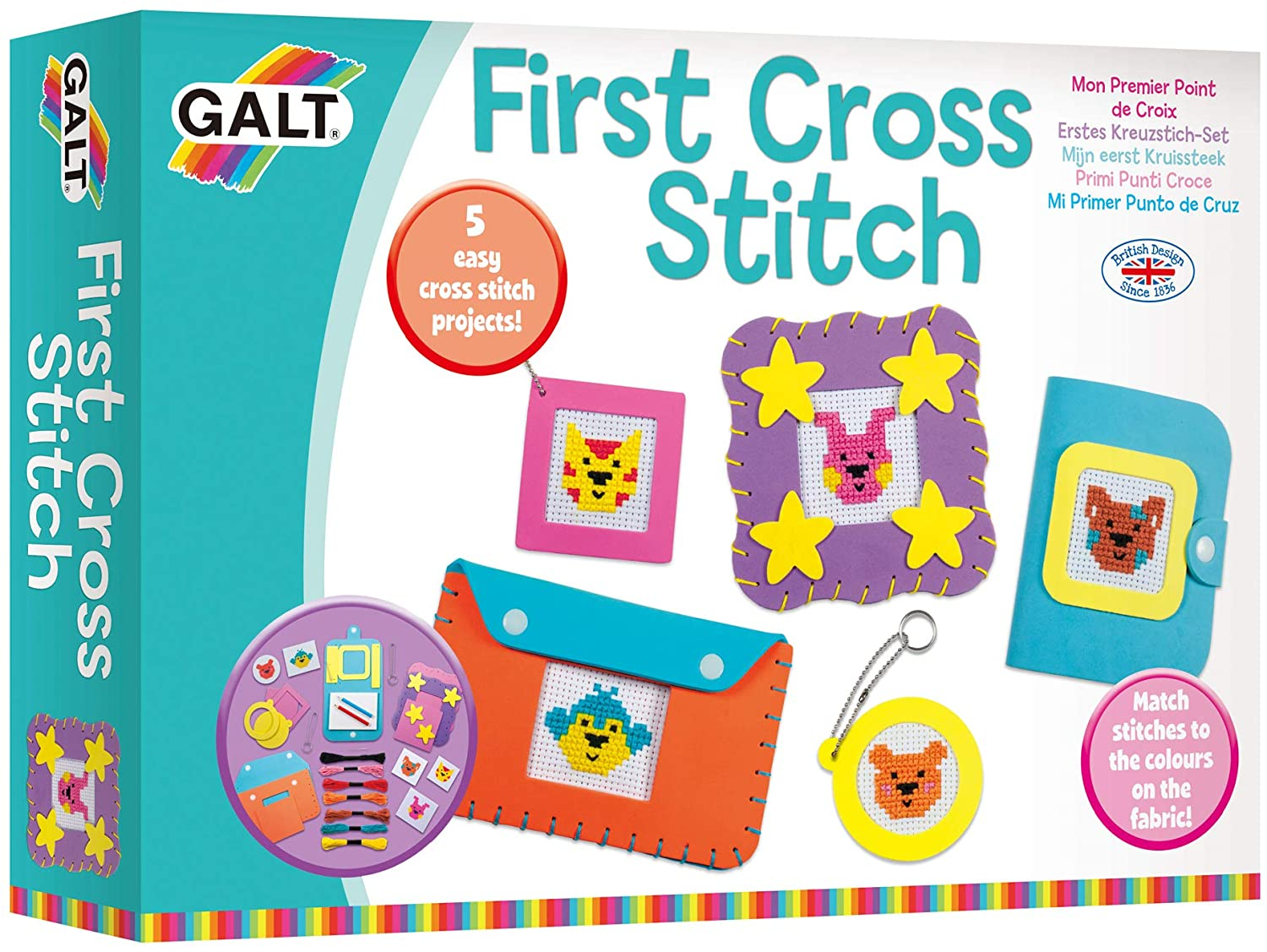 BOX DAMAGED - Galt Toys First Cross Stitch, Embroidery Craft Kit for Children