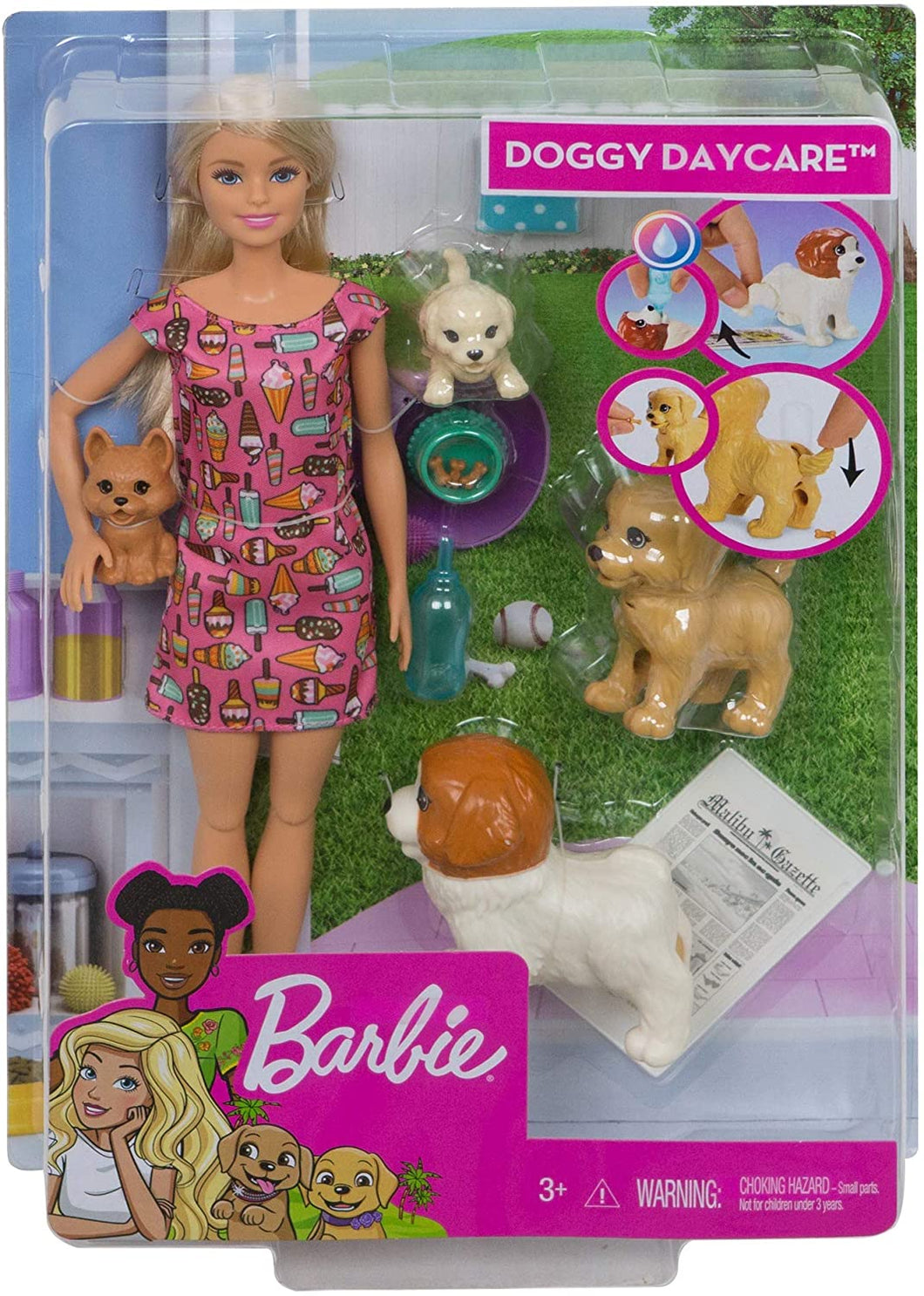 BOX DAMAGED - Barbie FXH08 Doggy Daycare Doll, Blonde and Pets Playset