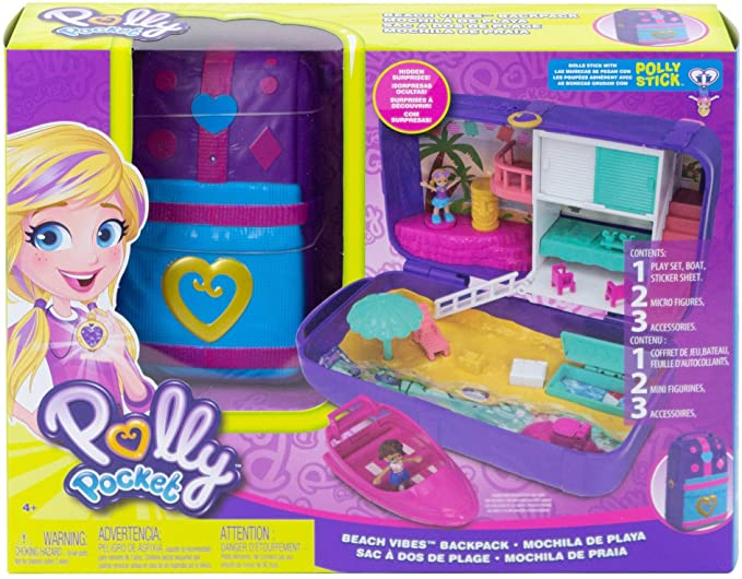 BOX DAMAGED - Polly Pocket FRY40 Hidden Places Beach Vibes Backpack, Multi-Colour