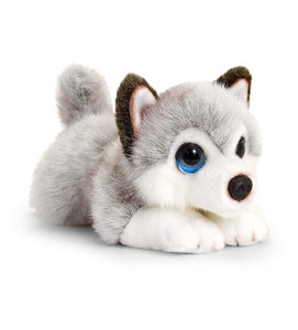 Keel Toys SD2520 Soft Toy Signature Cuddle Puppy Husky, Grey, White 32cm