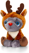 Keel Toys SX6397AMR Soft Toy Frenchie with Christmas Outfit Reindeer Elf