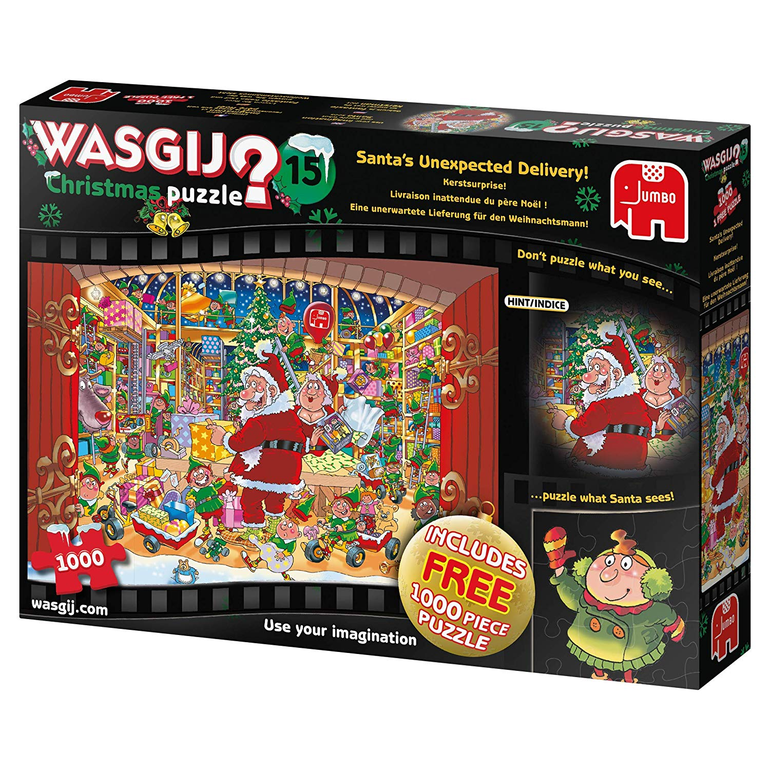 Jumbo 19172 Treat Wasgij Christmas 15-Santa's Unexpected Delivery 2 x 1000 Piece Puzzle, Multi