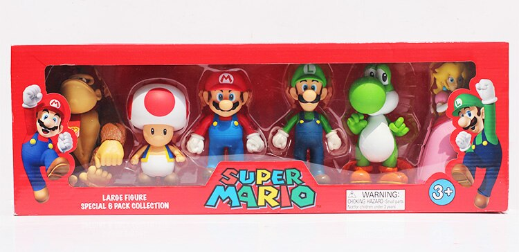 Super Mario Large 6 Figure Box Set - Mario, Luigi, Donkey Kong, Yoshi, Toad and Princess
