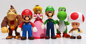 BOX DAMAGED - Super Mario Large 6 Figure Box Set - Mario, Luigi, Donkey Kong, Yoshi, Toad and Princess