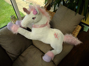 Deluxe Paws Extra Large Silky Soft Unicorn Plush White or Pink - With Free Baby Unicorn RRP £6.99