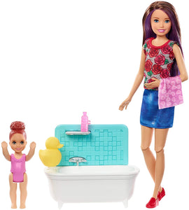 Box Damaged - Barbie FXH05 Babysitters Inc Playset with Bathtub, Babysitting Skipper Small Toddler Doll with Button to Move Arms, Multicolour