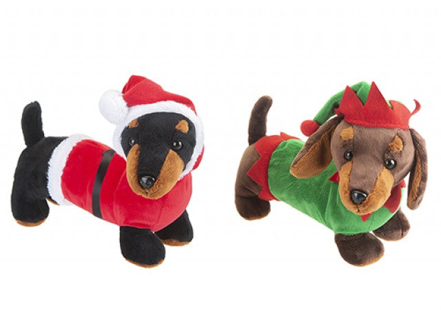 30cm Christmas Sausage Dog, Elf & Santa