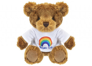 441099 Soft Toy Brown Bear With Rainbow THANK YOU T-Shirt 20CM