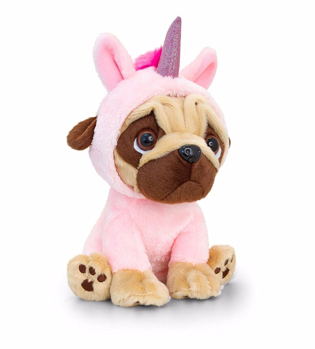 Keel Toys Pugsley 14cm Pug Dog in unicorn costume Cuddly Soft Toy Teddy Plush