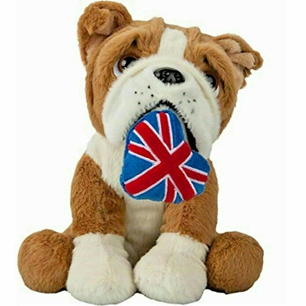 Patriotic British Bulldog Cuddly Toy With Union Jack 25cm Brown/white