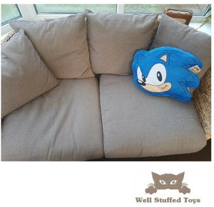 Sonic the Hedgehog Classic Die-Cut Printed Plush Shaped Cushion - Blue