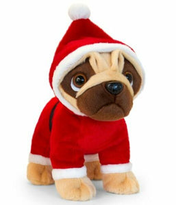 Keel Toys Pugsley Soft Plush 25cm Standing ELF SANTA RUDOLPH CHRISTMAS PUDDING
