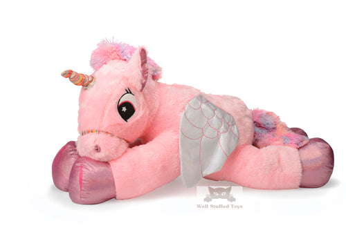 Huge Pink Unicorn With Wings Plush Toy Large 100 CM Cuddly Super Soft Gift