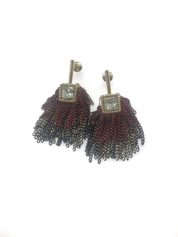 Threader Earrings with Two Layers of Metallic Chain Tassel Drop