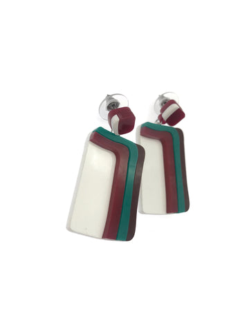 Rugged Path Inspired Dangle Earrings -Ruby & Teal