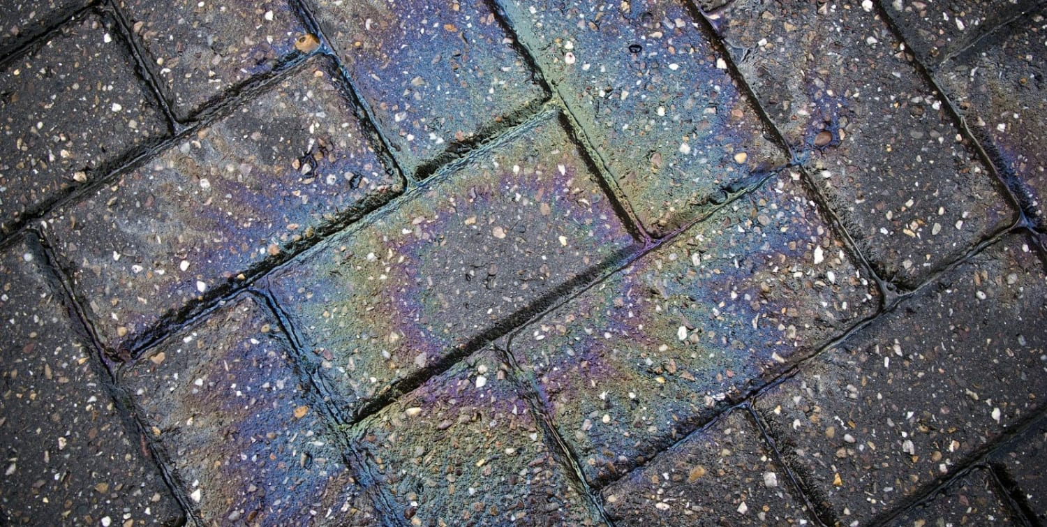 How to remove oil stains from block paving