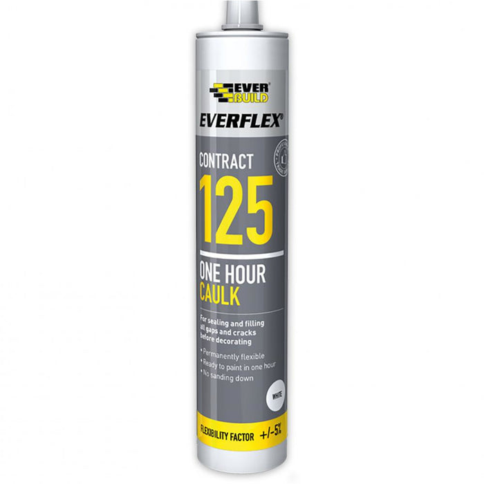 Everbuild 125 Everflex One Hour Caulk - White - 300 ml
