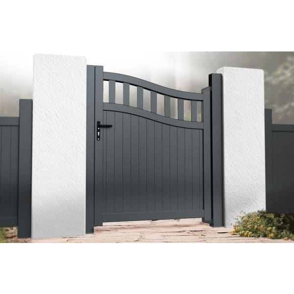 Bell Curved Top Metal Side Gate with Tall Infill