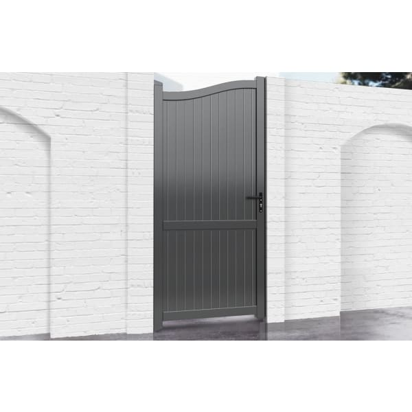 Bell Curved Top Metal Side Gate with Vertical Infill
