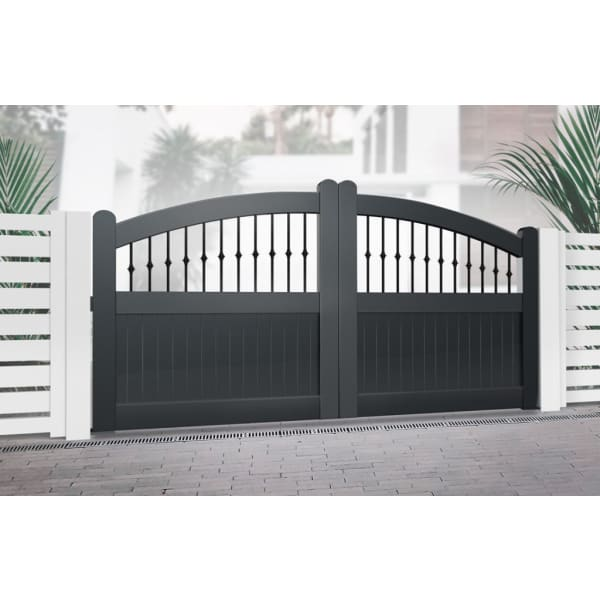 Curved Top Metal Double Driveway Gate with Mixed Infill Black