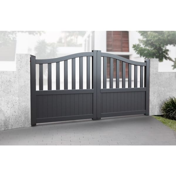 Curved Top Metal Double Driveway Gate with Short Infill