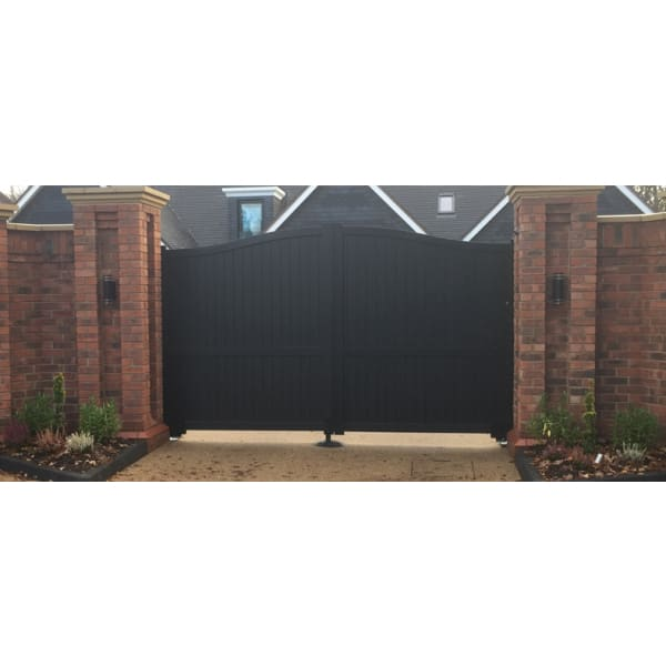 Curved Top Metal Double Driveway Gate with Vertical Infill