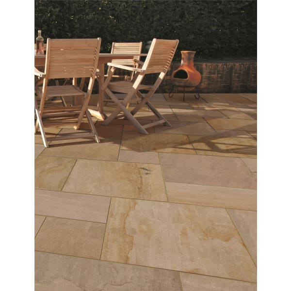 Eden Sandstone Porcelain Linear Pack Paving Slabs 32 Pack
